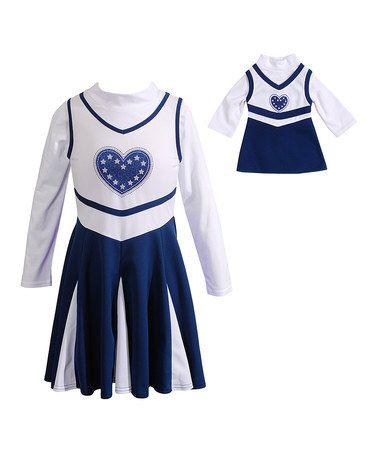 Navy Heart Cheer Dress & Doll Dress - Toddler & Girls by Dollie & Me #zulily #zulilyfinds