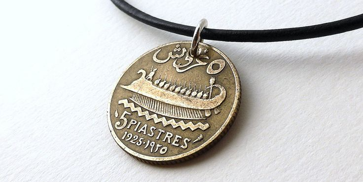 Coin necklace, Lebanese, Ship necklace, Nautical necklace, Men's necklace, Coin jewelry, Men's gift, Gift for him, Middle East, Ships, 1925 by CoinStories on Etsy