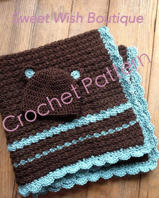 Crochet Baby Blanket Patterns To Download : Crochet Pattern - Baby Blanket and Hat Set - instant ...