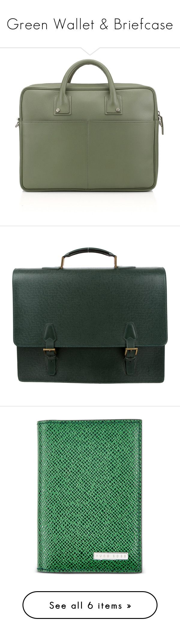 """""""Green Wallet & Briefcase"""" by eternalfeatherfilm on Polyvore featuring men's fashion, men's bags, men's briefcases, green, louis vuitton mens briefcase, mens briefcase, men's wallets, bi fold mens wallet, mens leather bifold wallet and mens leather card case wallet"""