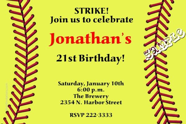 Softball Birthday Invitations - Get these invitations RIGHT NOW. Design yourself online, download and print IMMEDIATELY! Or choose my printing services. No software download is required. Free to try!