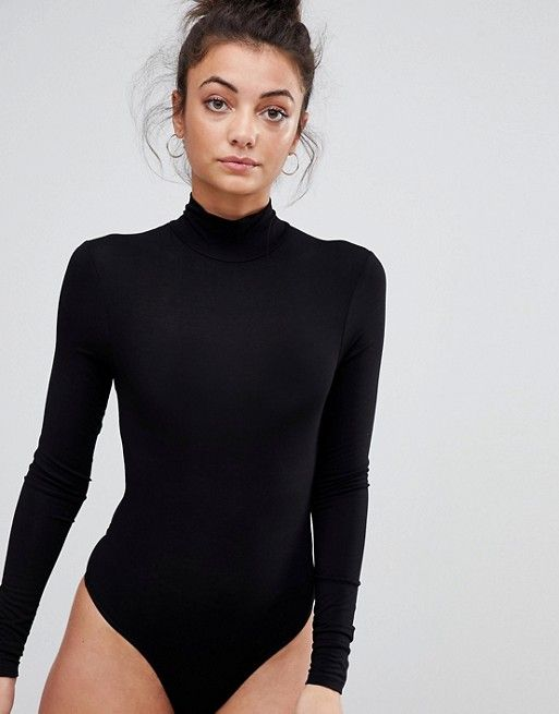 c7b94731b1 ASOS Tall | ASOS DESIGN Tall body with long sleeves and turtleneck in black