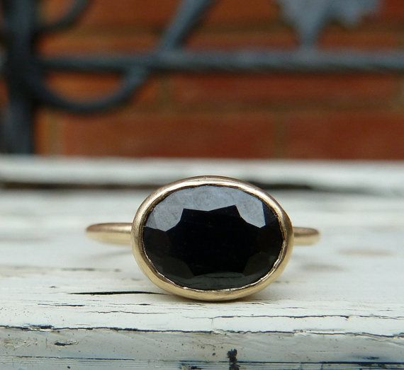 Black sapphire ring black sapphire gold ring by karenjohnsondesign, £275.00