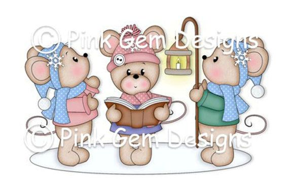 Digi Stamp Carol Singing Mice  - Mouse, Mice, Makes cute Christmas Cards