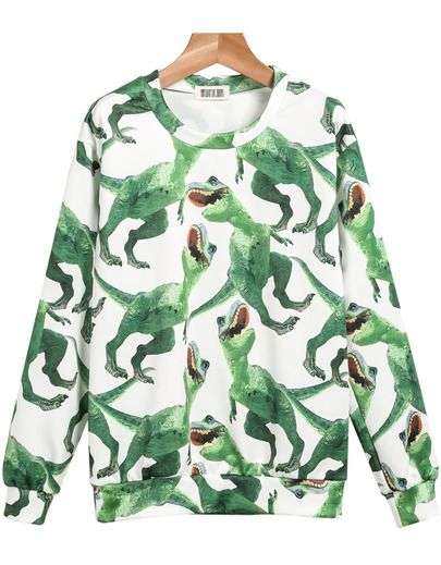 Green Long Sleeve Dinosaurs Print Sweatshirt - Sheinside.com Mobile Site