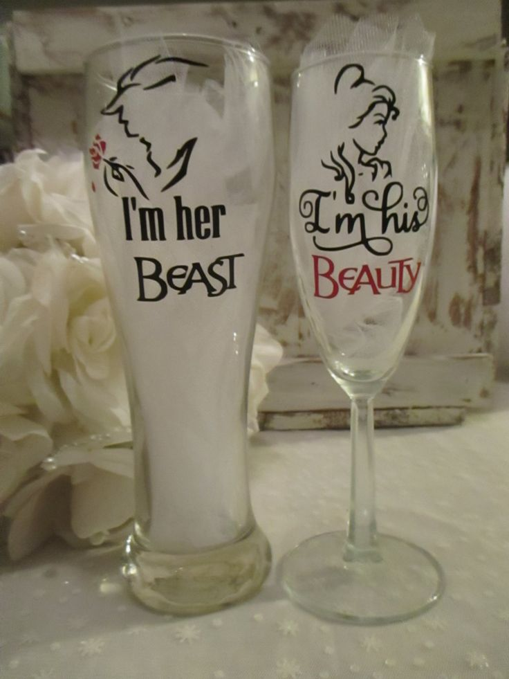 Disney Inspired Wedding Day Toasting Glasses ~ I'm her Beast ~ I'm his Beauty ~ Pilsner and Champagne Flute for Bride and Groom ~ Belle by BohemianLillyDesigns on Etsy