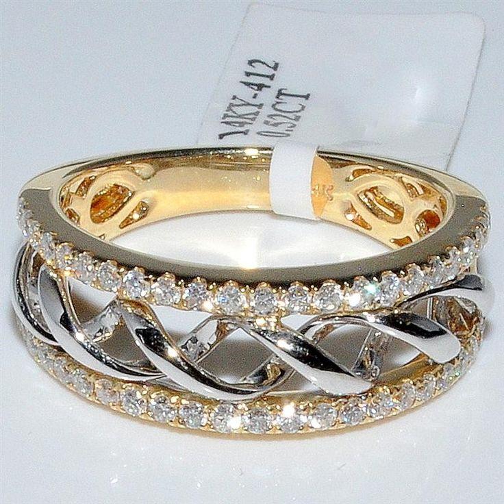 Fresh Wedding Band Diamond Two Tone Gold Wide fashion Right hand ring Womens Rings