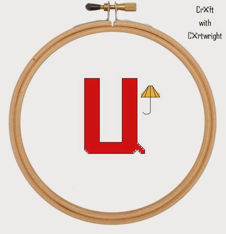 Craft with Ruth Cartwright: Free cross stitch U is for Umbrella alphabet sampler PDF Pattern