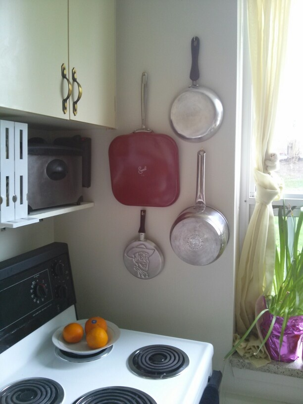 Pot And Pan Space Saver Yes, That Is My Woody Pancake Pan Lol. When I First  Moved Into My Bachelor Apartment I Was Uber Frustrated With Rummaging  Through My ...
