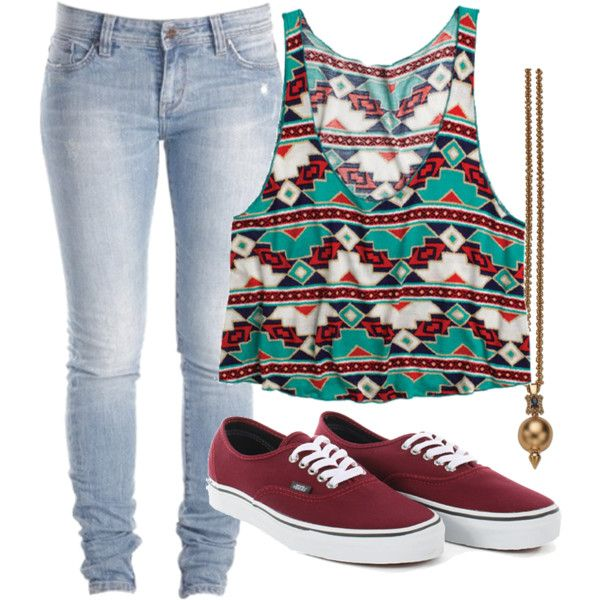 Clothes Casual Outift for • teens • movie • girls • women •. summer • fall • spring • winter • outfit ideas • date • school • parties • Aztec • skinny jeans • maroon • turquoise • vans