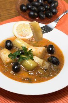 Leek stew with black olives - Mancare de praz cu masline