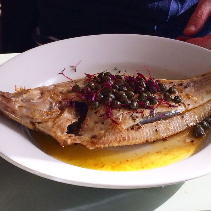 Whole plaice with capers. Pythouse kitchen. @TheLiteraryShed2014