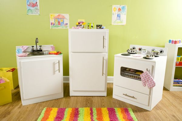 Play kitchen inspiration (since we have two kitchen cabinets leftover from our office project...).