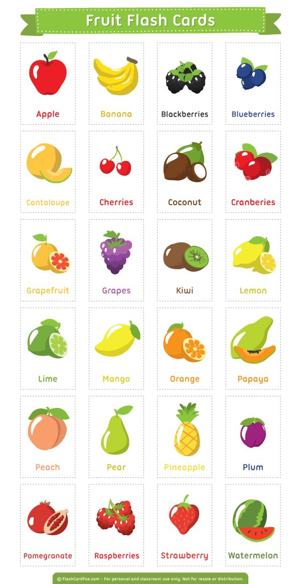 Free printable fruit flash cards. Download them in PDF format at http://flashcardfox.com/download/fruit-flash-cards/