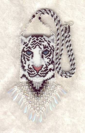 Free Seed Bead Necklace Patterns | This white tiger peers at you with stunning aqua eyes.