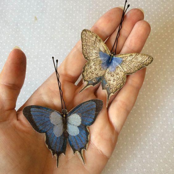 Soft - Mollette per Capelli con Farfalle in Cotone Bio e Organza di Seta Blu e Avorio - 2 pezzi by TheButterfliesShop on Etsy:
