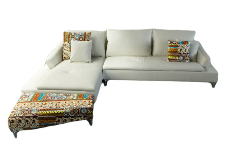 Our Gypsy Sofa! Leather sofa, fabric multicoloured ottoman $3000