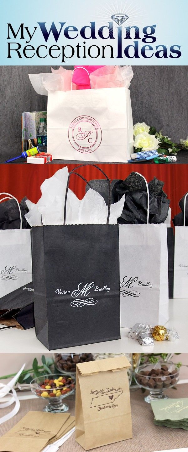 From wedding reception favors to out of town guest gifts, gift bags personalized with a special message from the bride and groom will add that extra special touch everyone will love. Large paper gift bags are perfect for holding comfort items to help make your out-of-town-guests' stay more enjoyable.Medium and small size favor bags are great for treats, snacks, wedding favors and wedding party gift giving. These gift bags can be ordered at…