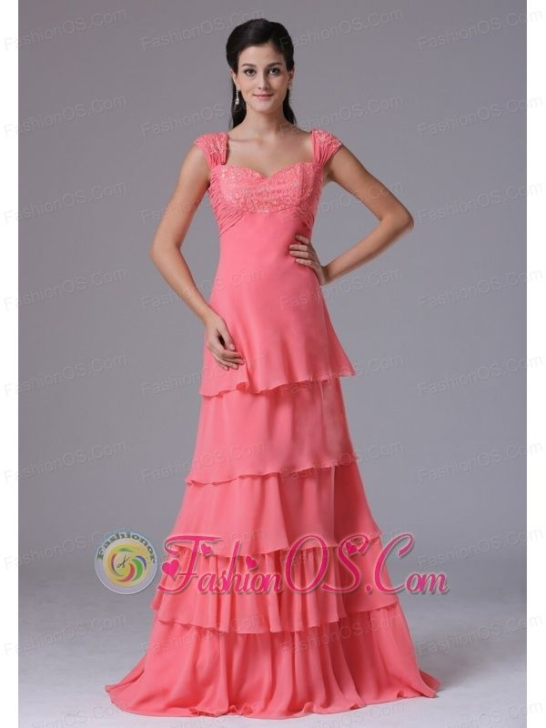 2013 Watermelon Ruffled Layers Square Column Stylish Prom Dress With Appliques In Brookfield Connecticut  http://www.fashionos.com You will showcase your glamour in this long prom dress! This gorgeous dress has a special cap sleeves with ruchings and embroidery accentuating your bust and curves. The long and full skirt has many peek-a-boo layers to flatter your slender figure! Such an amazing prom dress, why not capture it?