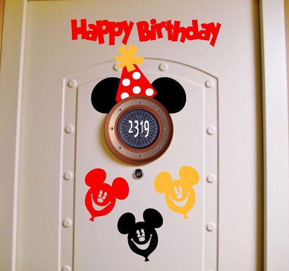 Happy Birthday Disney Cruise Stateroom Door Magnet Red