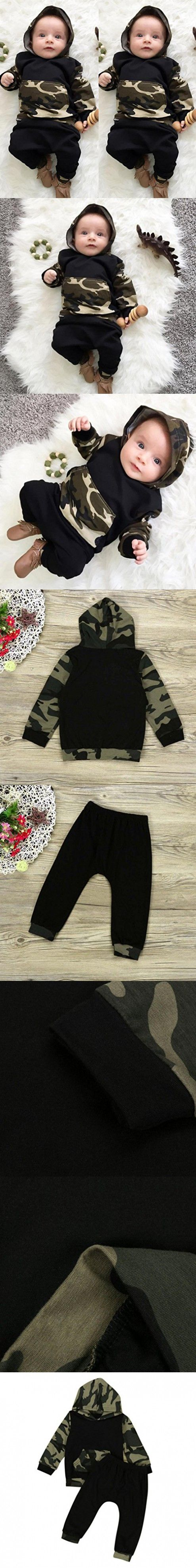 SunWard Camouflage Baby Boys Cute Toddler Hooded Tops +Long Pants Set Clothes (90, army green)