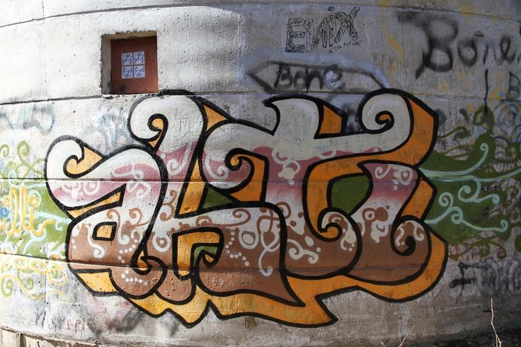 Kuva Vesitornin seinässä Forssassa.