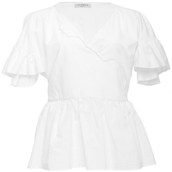 Vivetta Flutter Peplum Blouse ($219) ❤ liked on Polyvore featuring tops, blouses, white, white ruffle blouse, flutter sleeve blouse, white tops, peplum tops and white frilly blouse