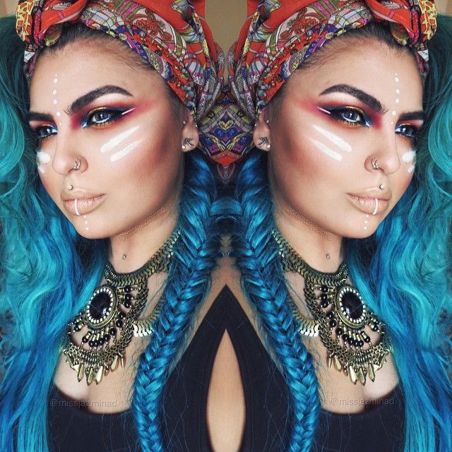 """""""Tribal inspired Makeup Inspired by three amazing followers @1313pandarabbit @tatty_tatts @noiseandkisses90 Thank you so much guys for suggesting the idea…"""""""