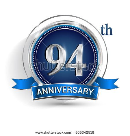 Celebrating 94th anniversary logo, with silver ring and blue ribbon isolated on white background.