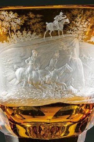 Detail - Pokal mit Treibjagd Franz Anton Pelikan, Meistersdorf, 1835-1845