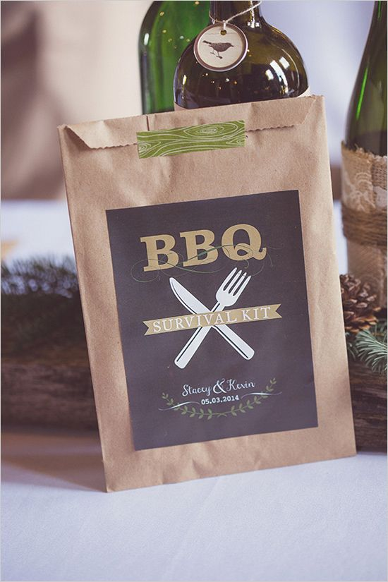 bbq survival kitFirst off having a BBQ at your wedding is not only delicious, but also brilliant. There are many options that you can put in our own BBQ survival kit bags from utensils, wet wipes, plastic bibs, paper napkins, tooth picks, mini salt and peppers, corn on the cob holders all the way to mini butters for those baked potatoes. Great idea … right?