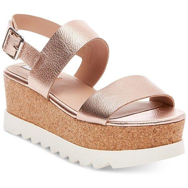 Steve Madden Women's Krista Flatform Sandals ($89) ❤ liked on Polyvore featuring shoes, sandals, rose gold, strappy shoes, steve madden sandals, chunky platform sandals, strappy sandals and strap shoes