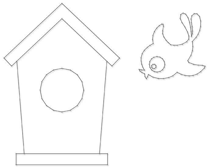 Vogel & Huis | Spijkerafbeeldingen | spijkerpatroon