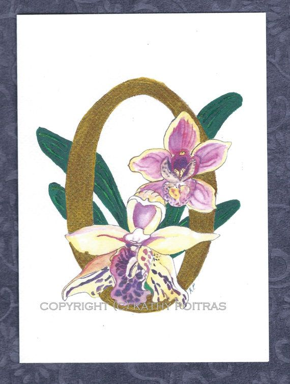 O is for Orchids  personalized greeting card by KathyPoitrasArt