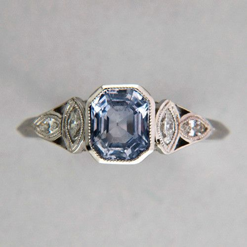 And for my September sweeties: light violet natural sapphire and diamond plat ring. OOOH!