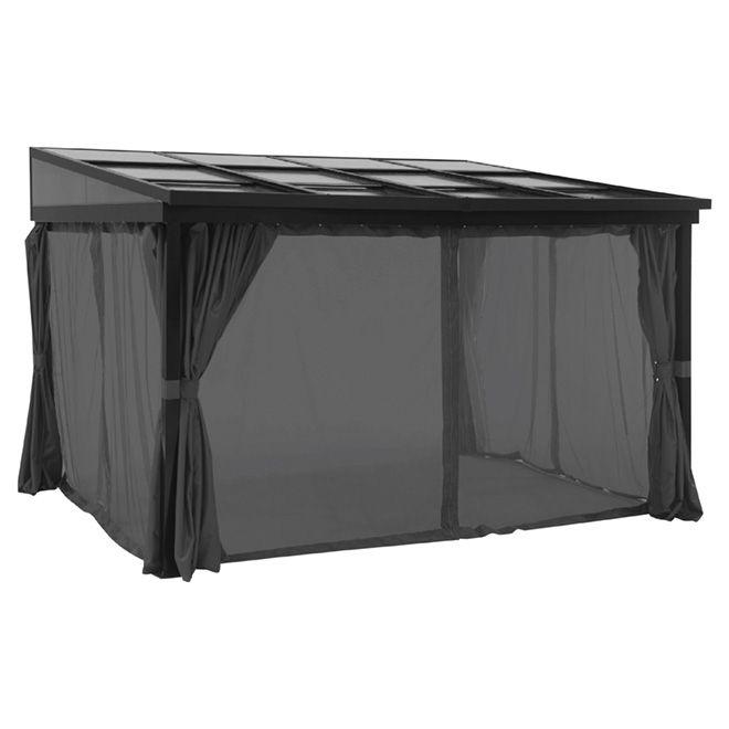 Uberhaus Retractable Sun Shelter W Curtains 10 X12 X8 Grey Black L Gz924pco New Rona Stylish Kitchen Exterior Cladding Cladding