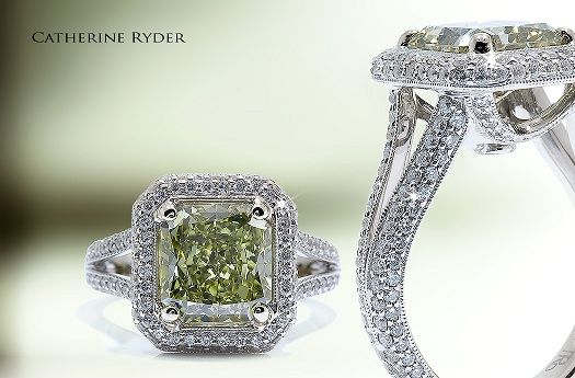 Natural Green Diamonds are incredibly rare, second only to Red Diamonds.: Diamonds Jewelry, Wedding Ring, Engagement Rings Jewelry, Dream, Green Diamonds, Yellow Diamonds, Green Diamond Rings, Colored Diamonds