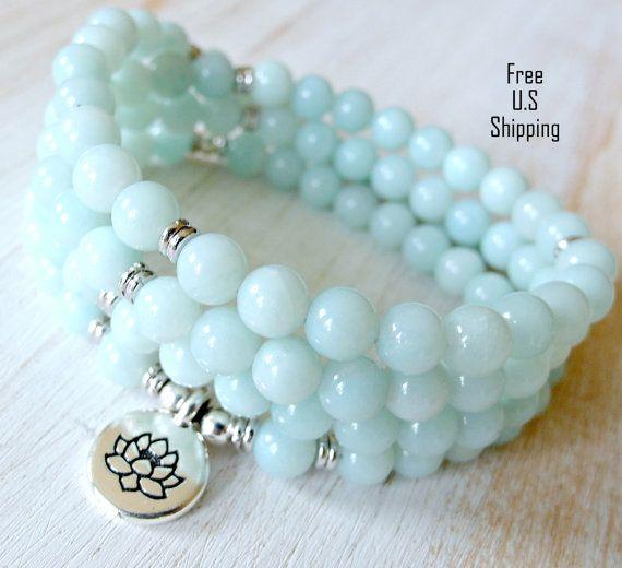 108 mala, Amazonite,Om, Mala Bracelet or Necklace,Reiki charged, Buddhist Rosary, Prayer beads, Gemstone, wrist mala, Lotus, buddha, ohm, om