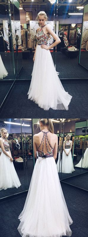 2017 white prom dresses, open back prom dresses, sexy prom dresses,tulle prom dress,halter prom dresses,