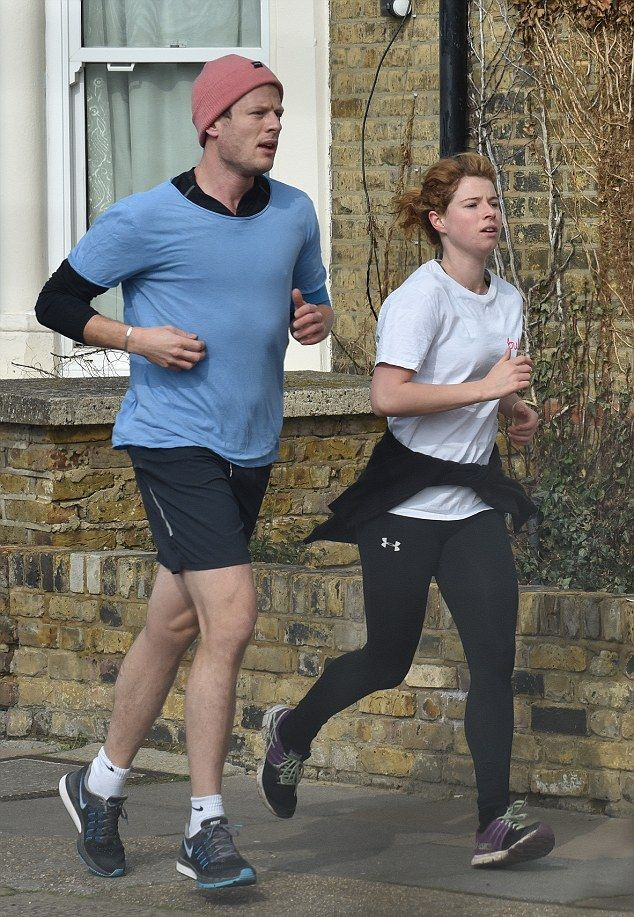 Phwoar And Peace: James Norton and girlfriend and onscreen sister Jessie Buckley certainly looked comfortable in each other's company as they enjoyed a jog together over the weekend