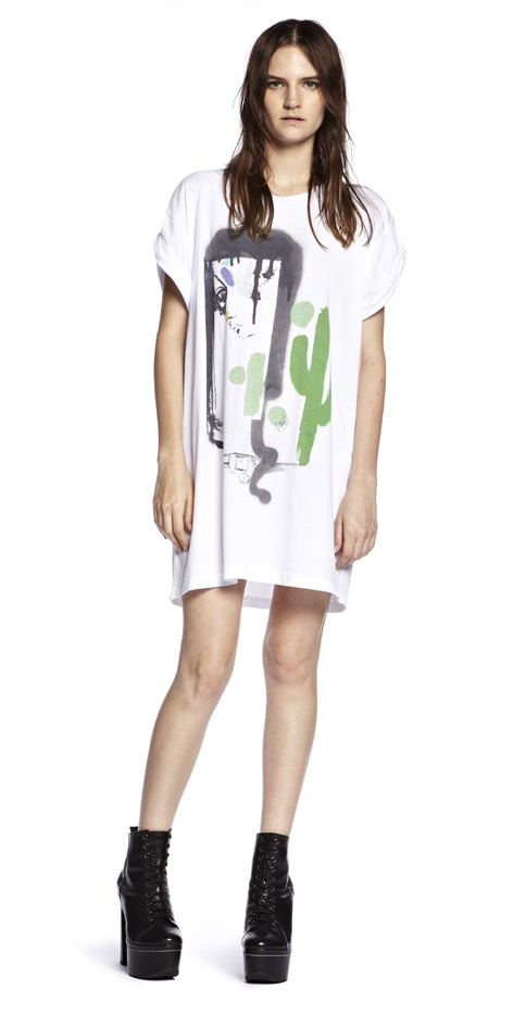 JV Cactus Girl Tee  Amazing cactus girl print on white oversized tee dress designed by Julie Verhoeven for Something Else Outlaw Spring 2012 range.100% cotton $89.95