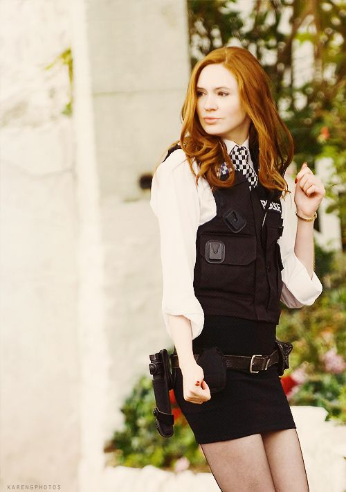 Doctor Who. Amy Pond in her police outfit. She was beautiful and fun, best companion ever