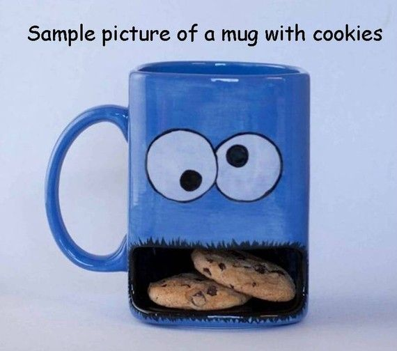 Love this, such a great idea! Cookie monster type dunk mug by apiecebydenise on Etsy.