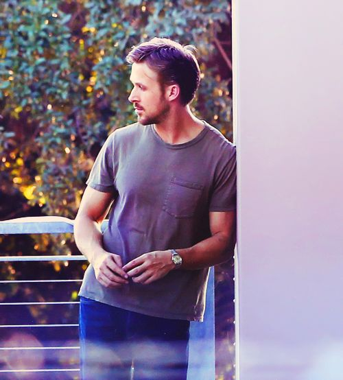 Ryan Gosling on set, having another one of his 'my life is a photoshoot' moments