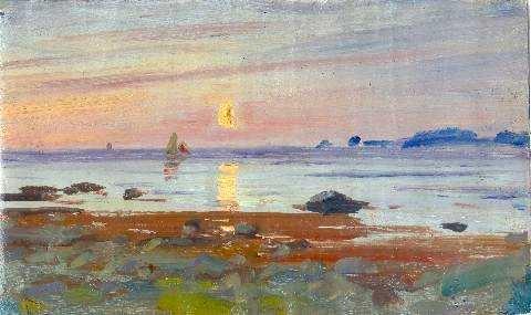 Ole Juul (1852-1927): Seilbåt i måneskinn