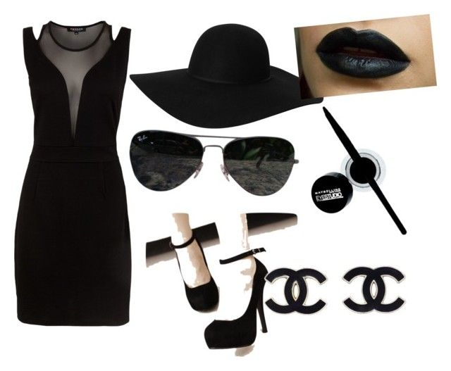 Funeral attire by ahmadb on Polyvore featuring polyvore, fashion, style, Morgan, Monki, Ray-Ban and Maybelline