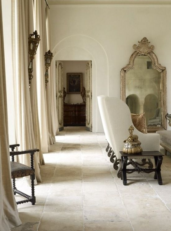 I adore this room with the acres of white curtains (drapes) and the antique mirror: Mirror, Houses, Window Curtains, Living Rooms, Guest Bathroom, Floors, Small Rooms, French Home, Design