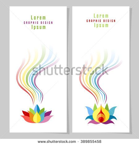 Rainbow Lotuses cards. Colorful rainbow and flower. Rainbow card or poster templates. Copy space. Vector illustration.