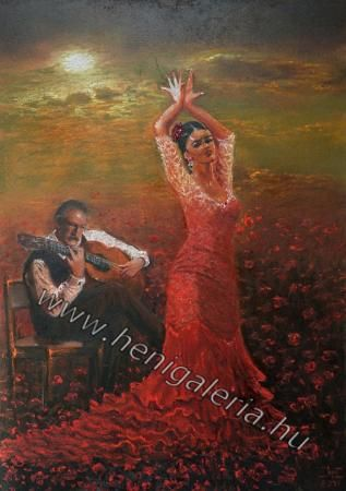 Flamenco Ballada, pasztell festmény / Ballade of Flamenco pastel painting www.henigaleria.hu