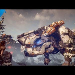 Horizon Zero Dawn-PlayStation 2016 The Machines Trailer-PS4  [♪♪♪] [SNORTING] MAN 1: Let me tell you what's out there. Vast reaches of wilderness… …untamed… …a rugged domain… …majestic… …but lethal. It belongs to them: The machines. The steel beasts who rule these lands… …and guard the secrets buried beneath its crumbling ruins. If you hunt these wilds no matter how skilled you are no matter how clever you will become the hunted. Can you brave that challenge? Can you pass that test? ..